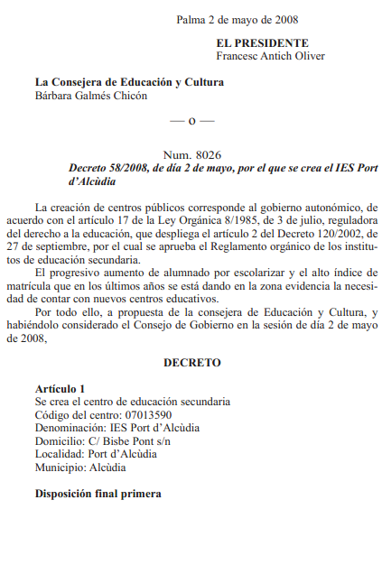 decret requisits minims